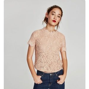 NWOT Zara lace embroidered blouse